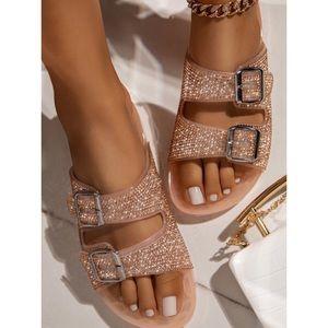 Jelly Double Buckle Rhinestone Slip On Sandals